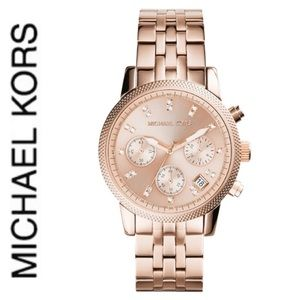 NWT authentic MK rose gold tone ritz watch